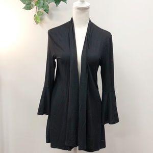 TAHARI black bell sleeve simple fall cardigan M